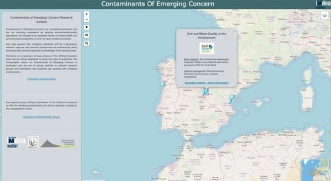 Visor cartográfico encontrar grupos investigación que trabajan contaminantes emergentes