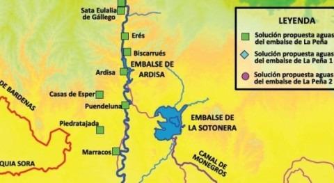 Mapa con las posibles soluciones al abastecimiento de la zona afectada por lindano