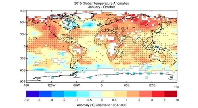 2015, probablemente año más cálido jamás registrado