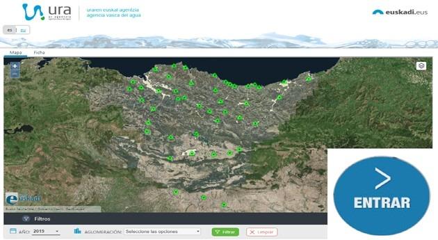 Aplicación datos vertidos 45 mayores sistemas saneamiento CAPV