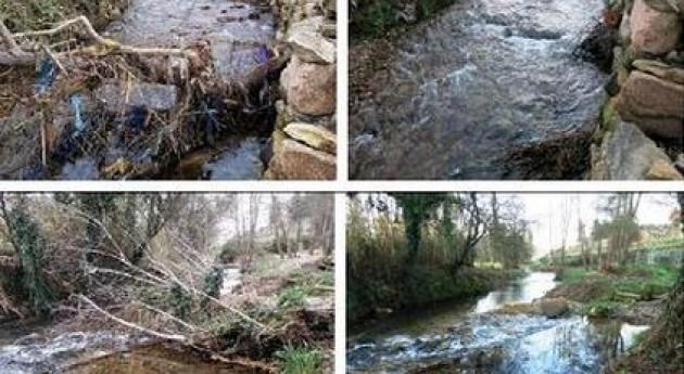 Imágenes del río Lagares antes y después de los trabajos llevados a cabo.