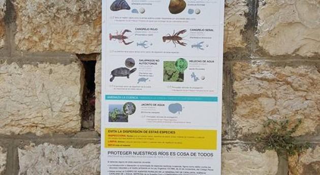 Instalado cartel informativo especies invasoras nuevo embarcadero Tortosa (Ta)
