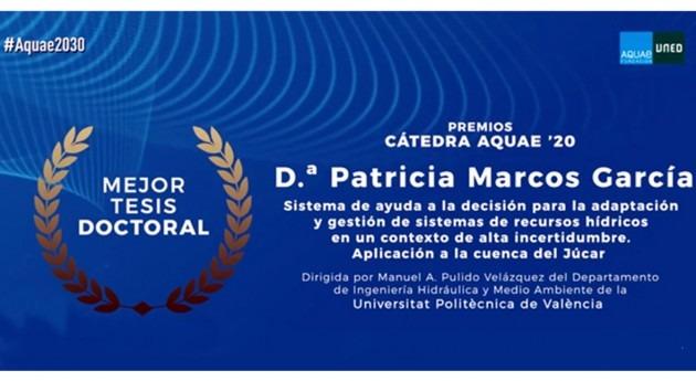 """investigación IIAMA, primer premio """"Cátedra Aquae Economía Agua"""""""