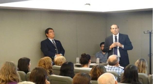 Edgardo Bortolozzi, Subsecretario de Recursos Hídricos, durante su intervención