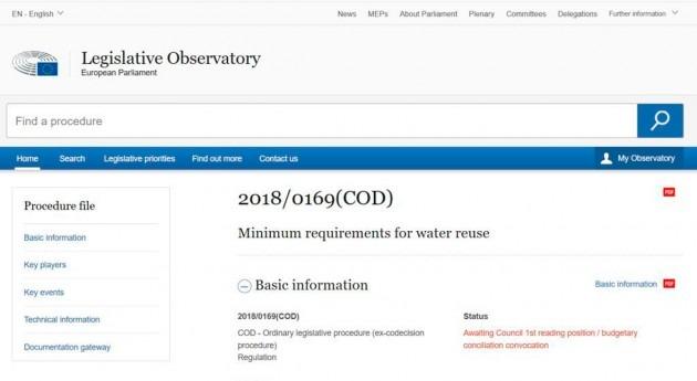 Proceso legislativo y terminología europea reutilización agua