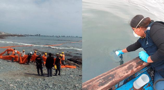 Autoridad Nacional Agua recoge muestras agua mar derrame combustible Ilo