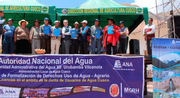 ANA beneficia más 3800 productores agrarios Cusco entrega licencias uso agua