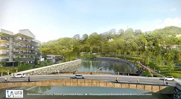 estructura nuevo puente Martutene río Urumea, lista colocación