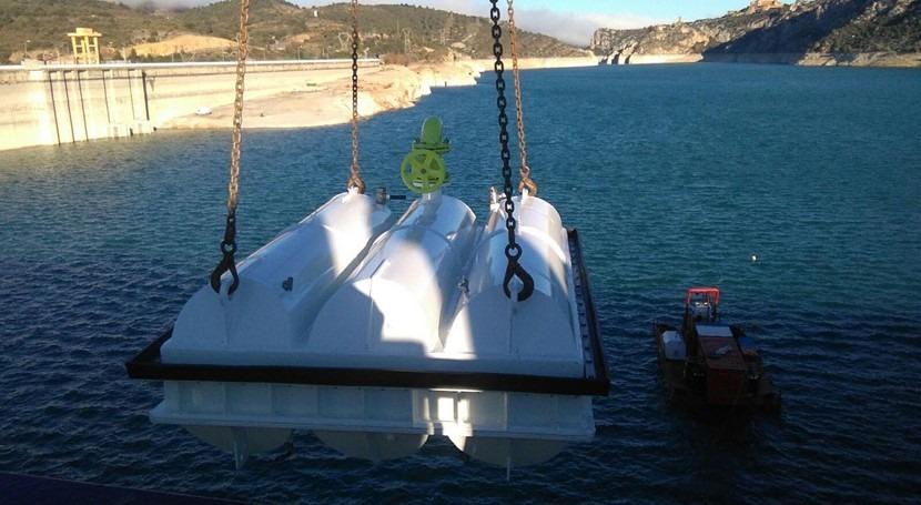 Avanzan obras reparación desagües fondo embalse Grado Huesca
