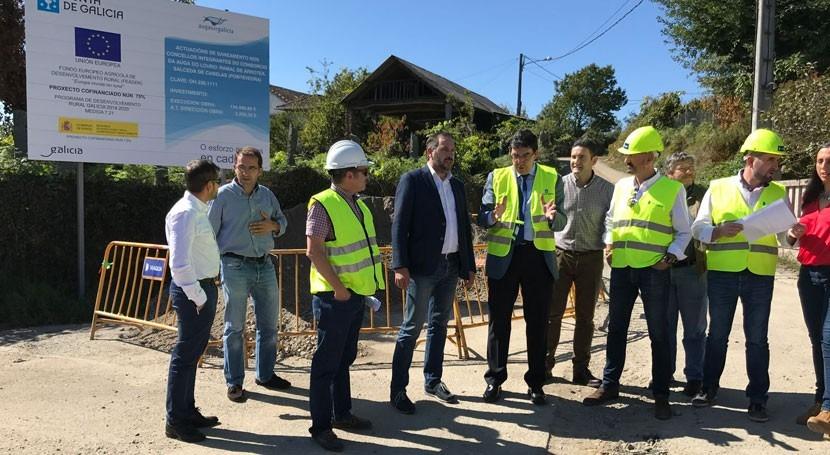Gobierno gallego supervisa avance obras saneamiento Salceda Caselas