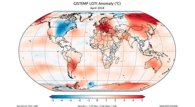 Abril 2018, tercer abril más cálido 138 años registros globales