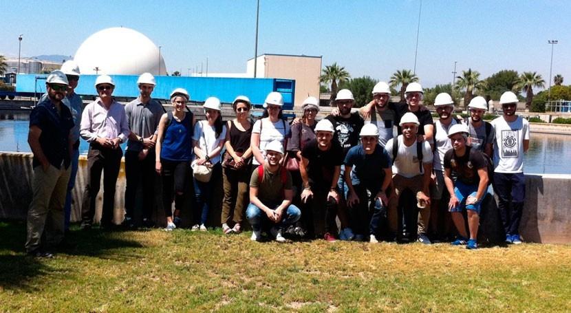 Estudiantes máster Caminos visitan depuradora aguas residuales urbanas Murcia