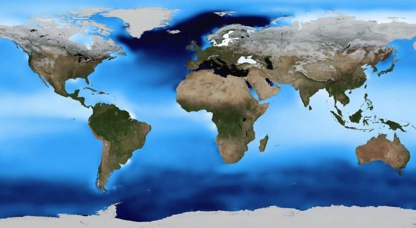 Mapa de la densidad superficial de mar.