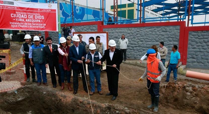 Avanzan obras agua y saneamiento distrito peruano Yura