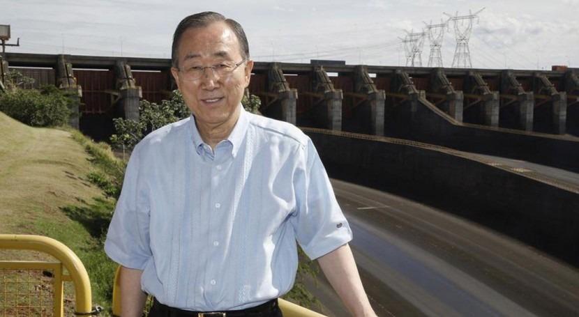 Ban Ki-moon en la presa de Itaipú durante una visita a Paraguay.