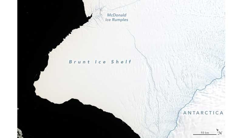 grietas plataforma hielo Brunt consumarán nacimiento iceberg gigante