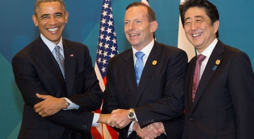 Barack Obama Tony Abbott y Shinzo Abe