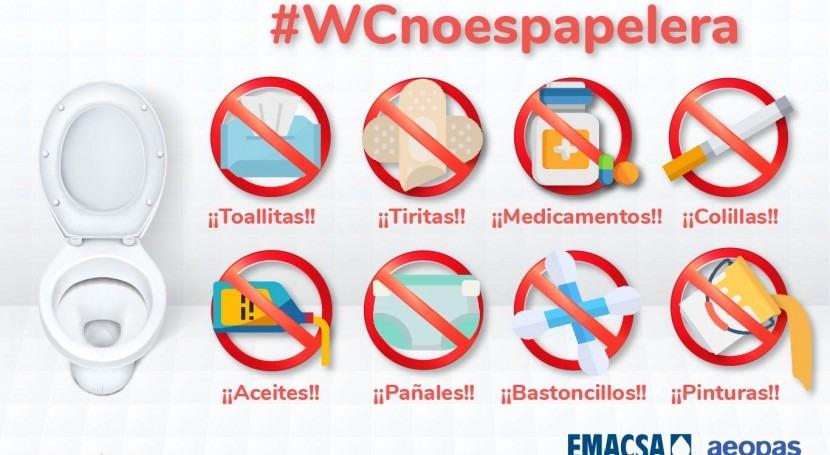 Día Mundial Saneamiento: Emacsa y AEOPAS lanzan campaña #WCnoespapelera