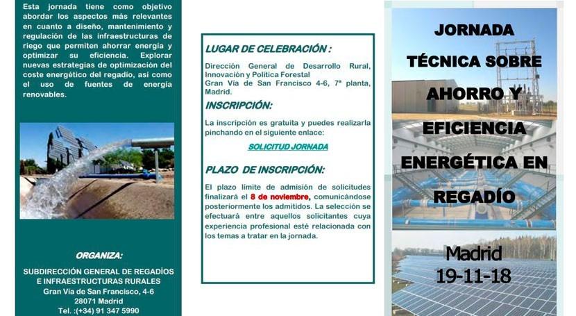Participamos jornada técnica ahorro y eficiencia energética regadío