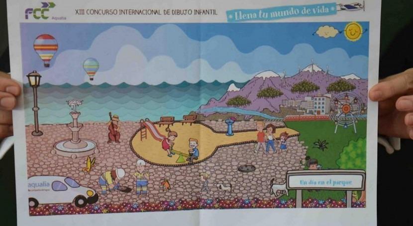 niña Cártama, finalista Concurso internacional dibujo infantil Aqualia