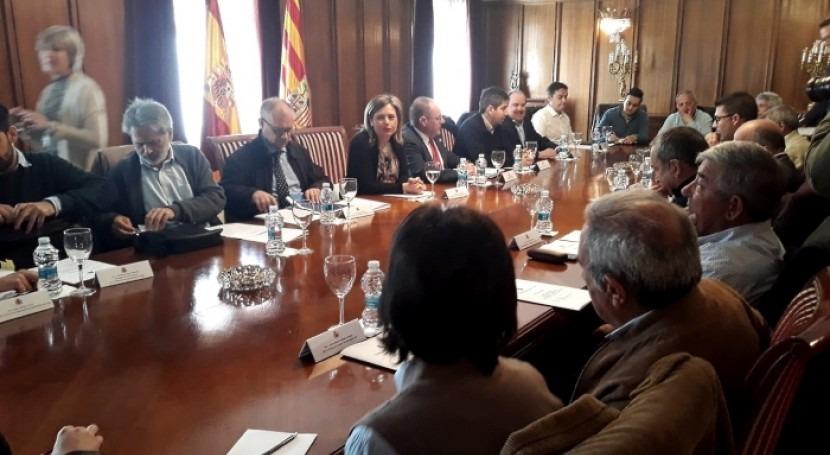 Reunión tratar incidencias río Guadalope obras recrecimiento Santolea