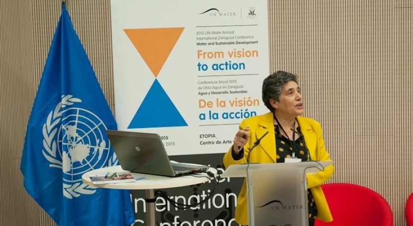 Josefina Maestu, directora de la oficina de Naciones Unidas para la Década del Agua, en la apertura de la Conferencia ONU-Agua.