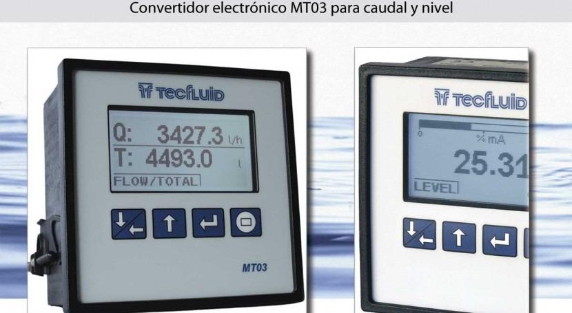 Convertidor electrónico MT03 caudal o nivel programable via cable USB, software o teclado