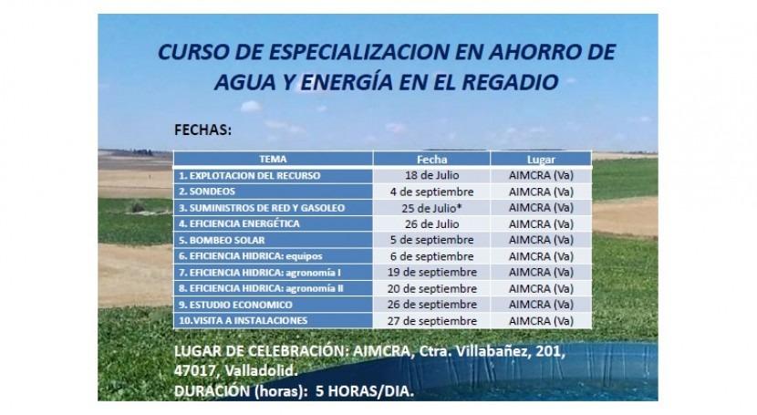 """Participamos """"curso especialización ahorro agua y energía regadío"""""""