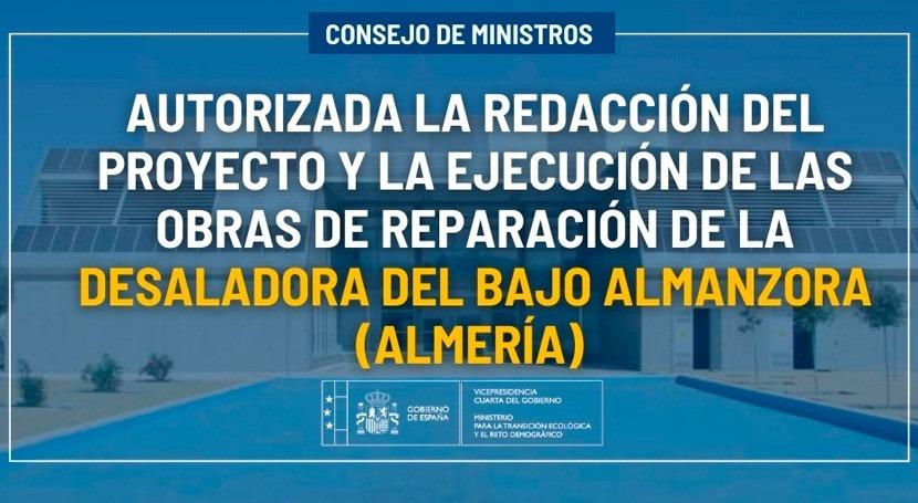 Autorizado proyecto y ejecución reparación desaladora Almanzora