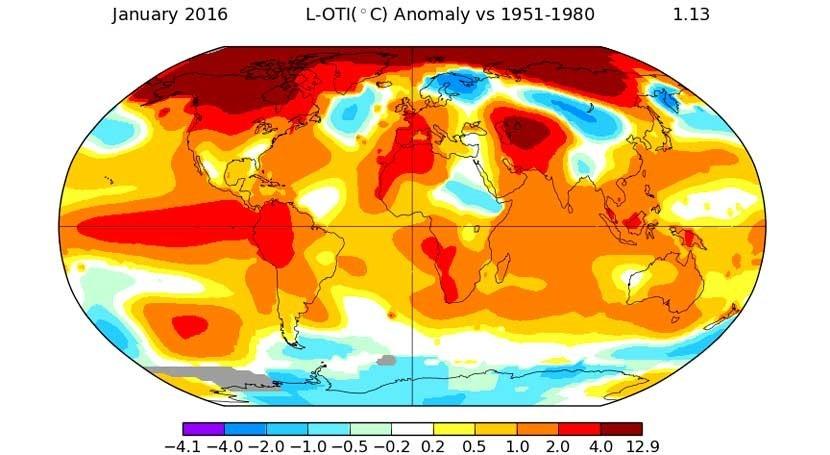 Enero 2016, más cálido que existen registros temperatura
