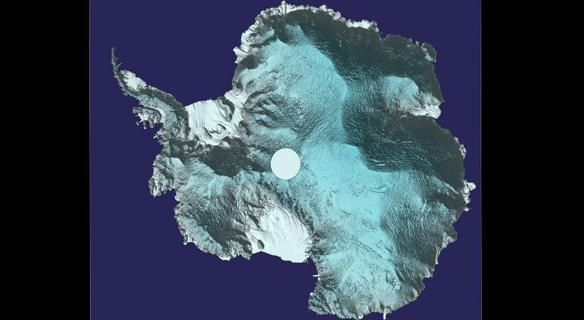 Antártida 3D: vista única ondulante superficie capa hielo continental