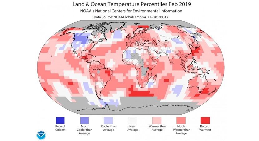 Febrero 2019 fue quinto más caluroso mundo 1880