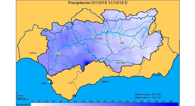 cuenca Guadalquivir, 25% más precipitaciones que media últimos 25 años