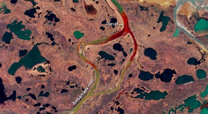Satélites captan fuga unas 20.000 toneladas diésel río círculo polar ártico