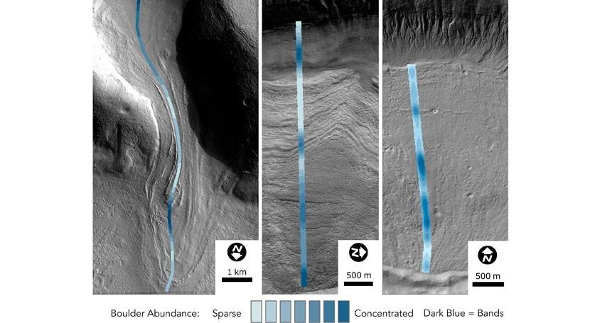 glaciares Marte revelan numerosas edades hielo
