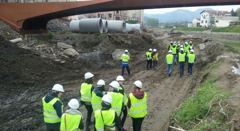 Estudiantes UPV visitan obras defensa inundaciones Martutene