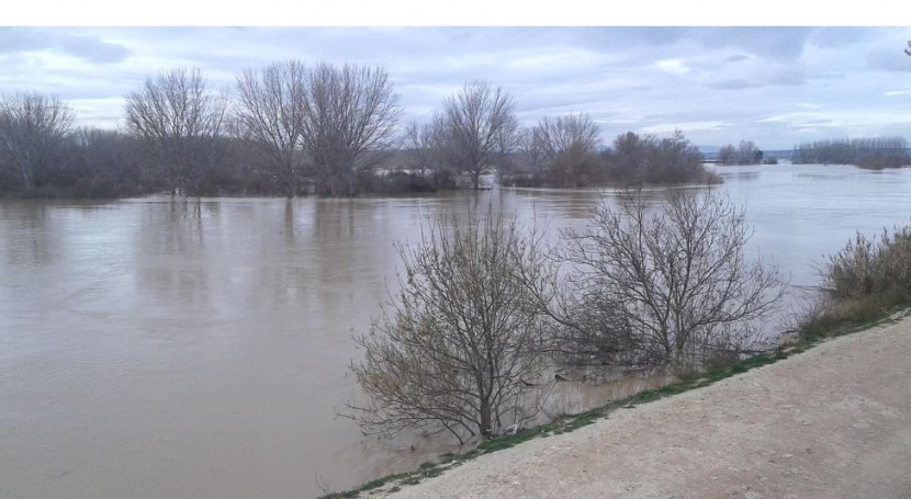 Imagen de la inundación (fuente: CH Ebro)
