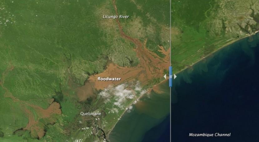 Comparación de la misma zona de Mozambique en 2014 (derecha) y la actualidad (izquierda). Imagen de la NASA