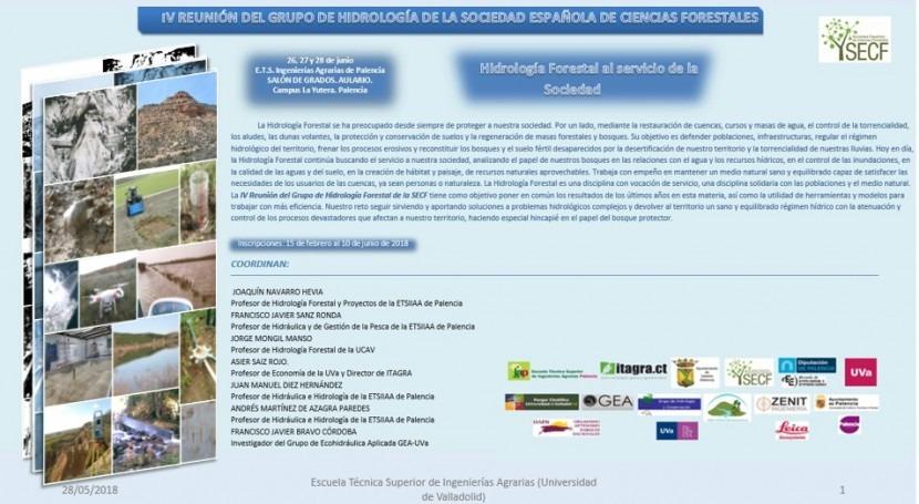 IV Reunión grupo HIdrología Sociedad Española Ciencias Forestales