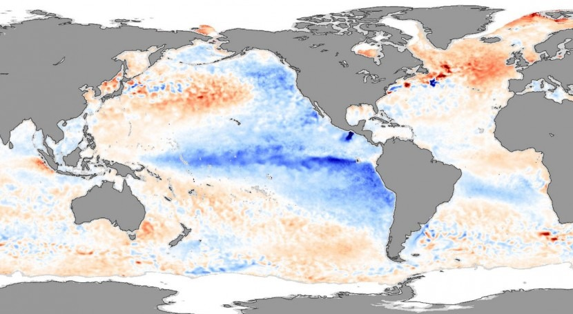 Anomalías de la temperatura de la superficie del mar mostrando condiciones de La Niña (azul) en noviembre de 2007 (Wikipedia/CC).
