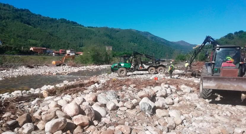 CHC inicia limpieza cauces río Aller Collanzo y Moreda