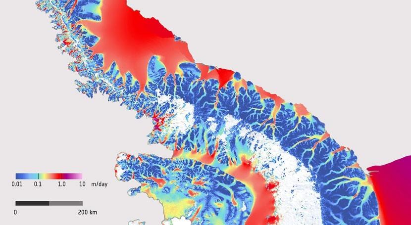 velocidad circulación hielo Península Antártica, recreada mapa
