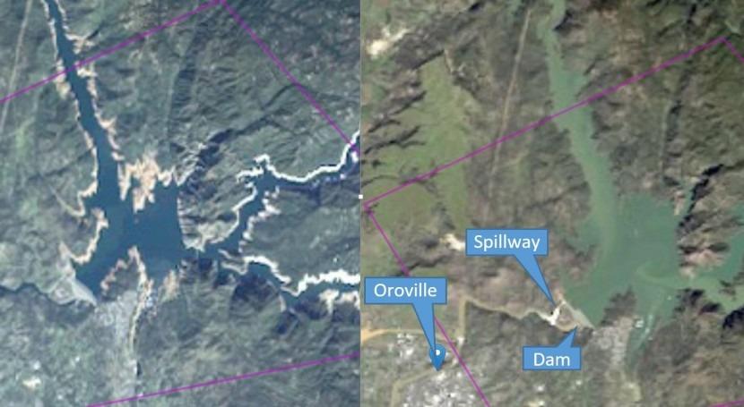 Imágenes satelitales observar fallo presa Oroville