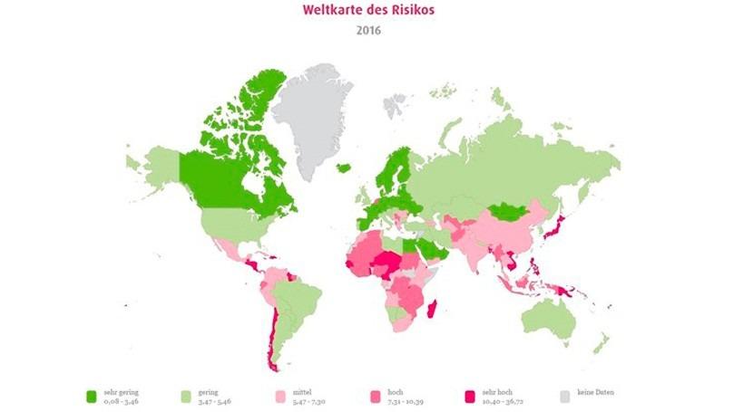 ¿Qué países tienen mayor riesgo sufrir desastre natural?