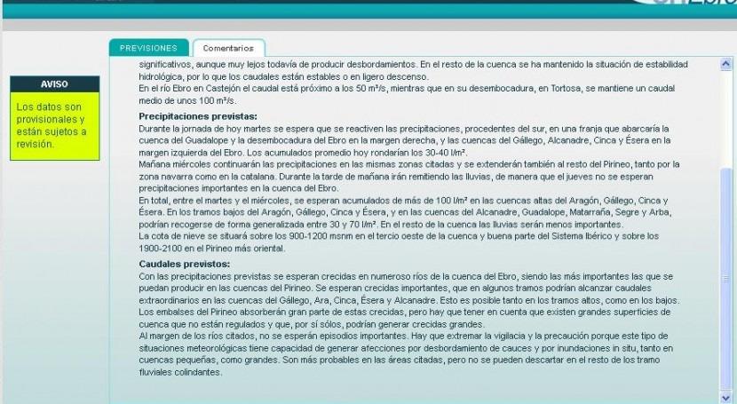Previsiones aumento caudal Cuenca Ebro mañana miércoles