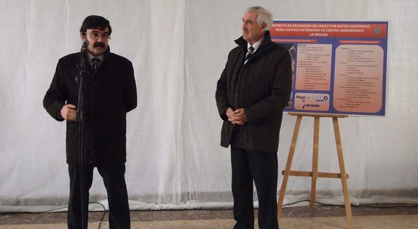 centro agronómico Melusa acoge pruebas sistema riego goteo subterráneo