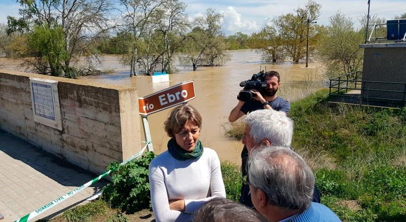 Tejerina se desplaza Zaragoza y Navarra conocer evolución crecida Ebro