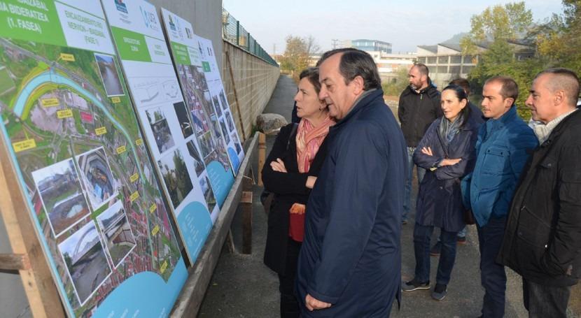 consejera Ana Oregi ha visitado obras defensa inundaciones rio Ibaizabal